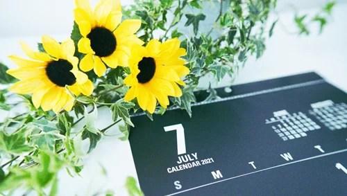 お花とカレンダー
