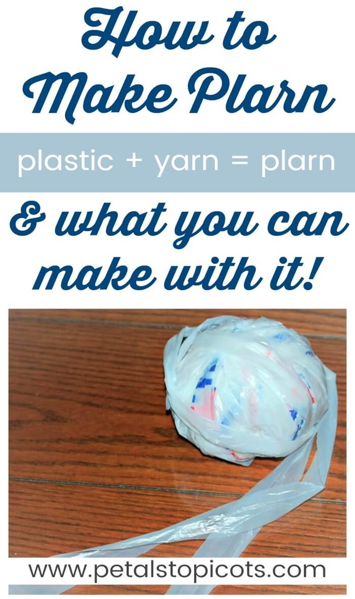 Learn how to make plarn to recycle that pile of plastic bags in your closet and turn them into some really cool creations! I'm always looking for ways to reduce waste and reuse and recycle what I can. Although I try to use reusable bags whenever I go grocery shopping, I inevitably forget once in awhile and end up with a stash of plastic bags. So what better way to use them than to make plarn and crochet them into something new! #petalstopicots