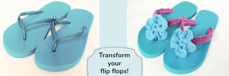 Crochet Flip Flops Tutorial with Flower Pattern | www.petalstopicots.com