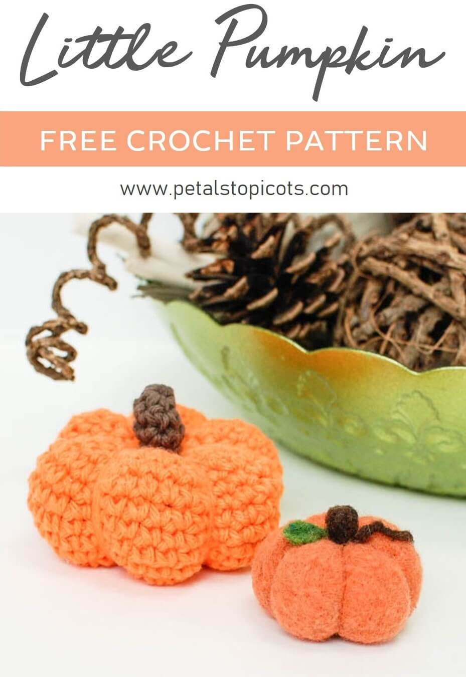 This sweet little pumpkin crochet pattern is perfect for Autumn ... and it's super quick to work up too! #petalstopicots
