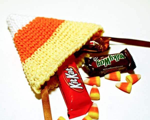 Candy Corn Treat Bag Halloween Crochet Pattern