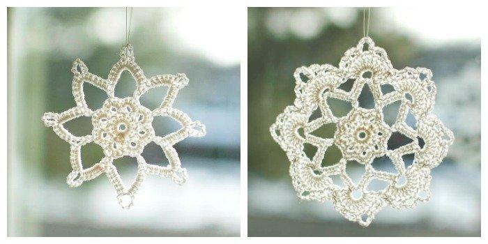 Two beautiful snowflake crochet patterns! #petalstopicots