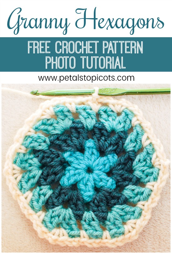 Learn how to crochet a basic granny hexagon with this free pattern and photo tutorial! There are so many gorgeous color combinations just waiting to be made. #petalstopicots