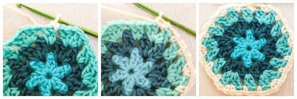 Joining granny Joining Granny Hexagons With the Crochet Join As You Go Method | www.petalstopicots.com