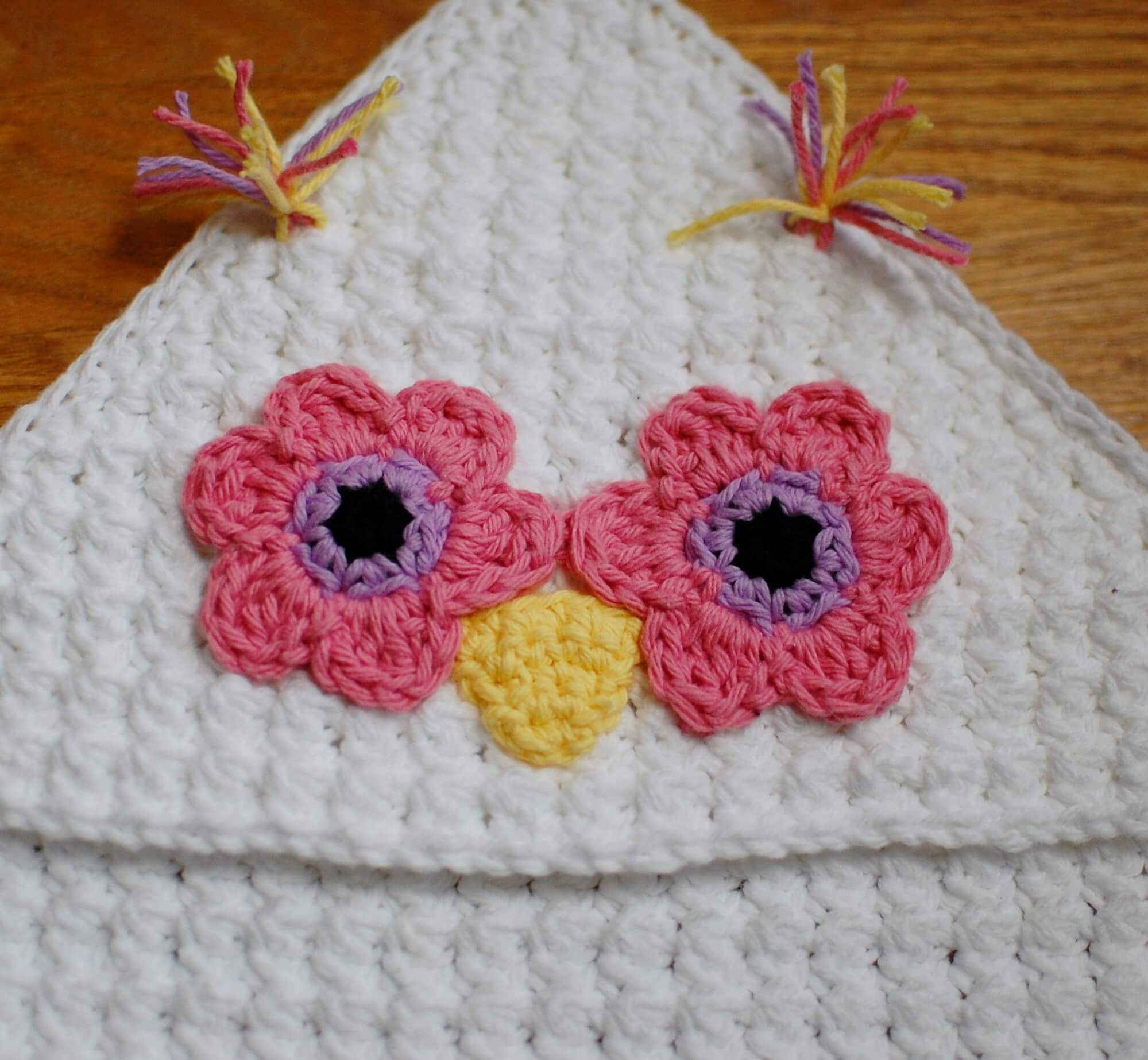 Owl Hooded Baby Towel Petals To Picots