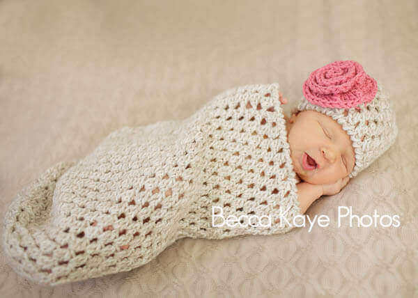 Crochet Baby Bunting with Hat Pattern and optional flower applique