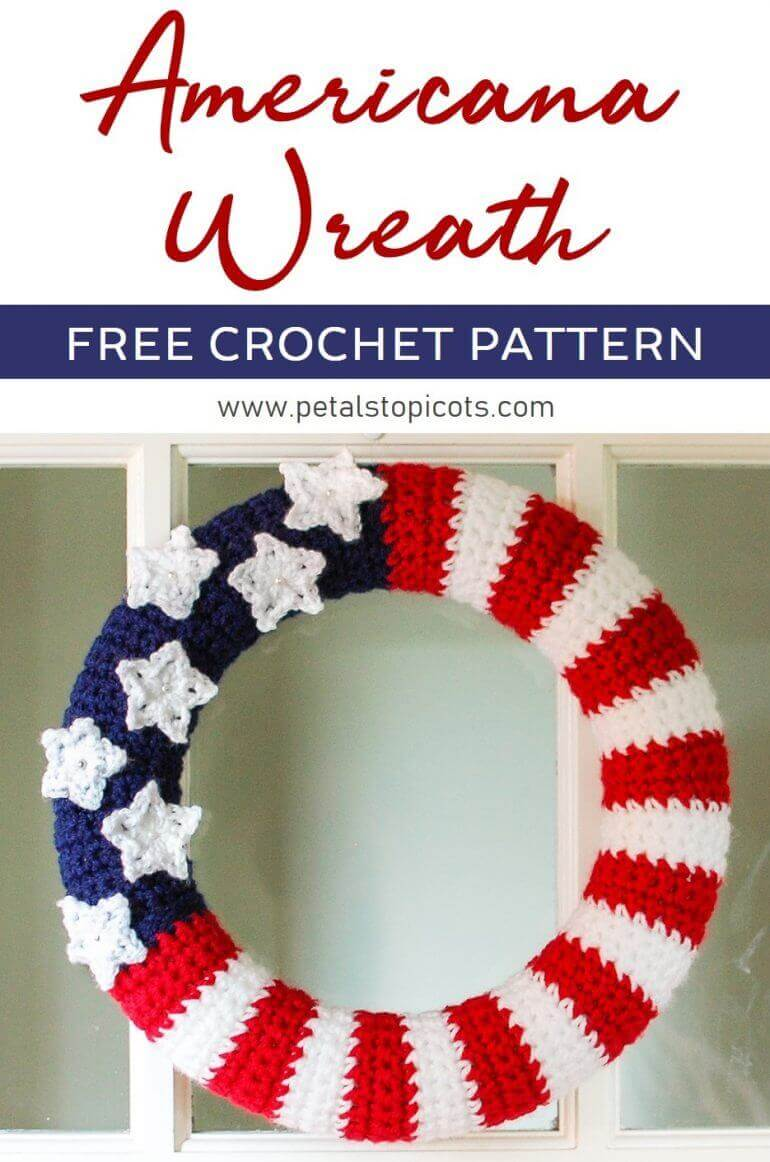 Stitch up this American Flag Wreath Crochet Pattern to celebrate the 4th of July or to add some flare to your Americana decor!  #petalstopicots