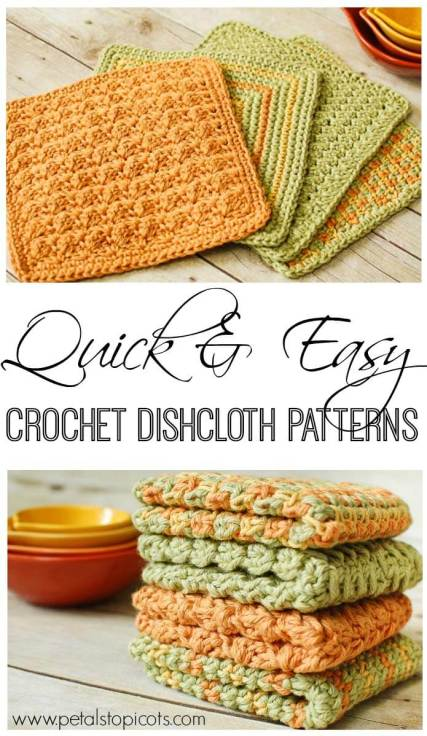 Crochet Dishcloths: 4 Quick and Easy Crochet Dishcloth Patterns | www.petalstopicots.com