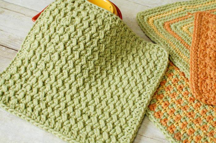 crunchy stitch free crochet dishcloth pattern
