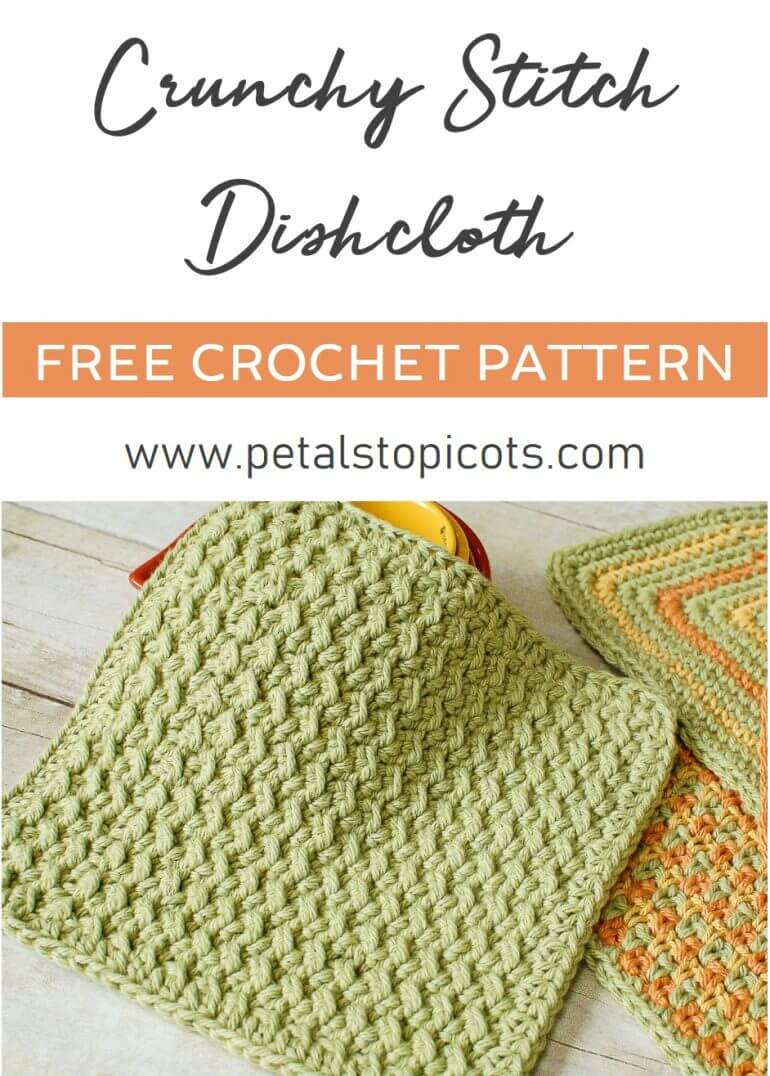 Crunchy Stitch Crochet Dishcloth Pattern Petals To Picots