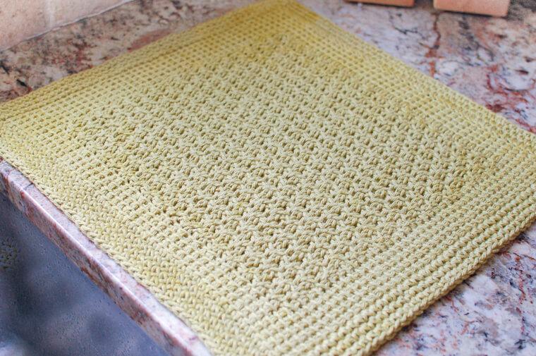 Tunisian Crochet Dish Drying Mat Pattern Petals To Picots