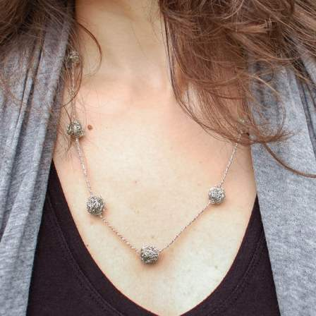 wire ball crochet necklace