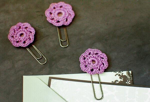 flower crochet paper clips