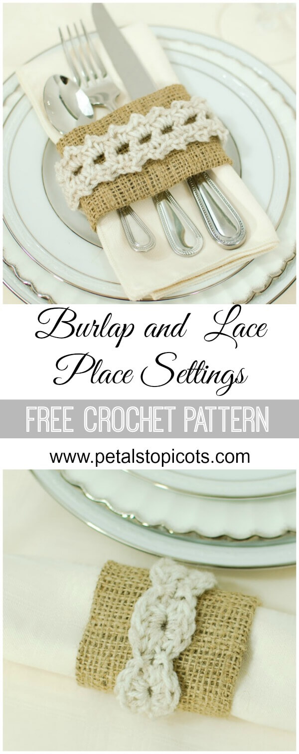 I love the shabby chic feel of these burlap and crochet place settings. They are pretty, yet rustic, and perfect for formal and informal dining alike! Best of all, there's a FREE pattern and tutorial! #petalstopicots