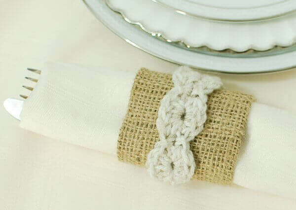 Burlap and Crochet Place Settings