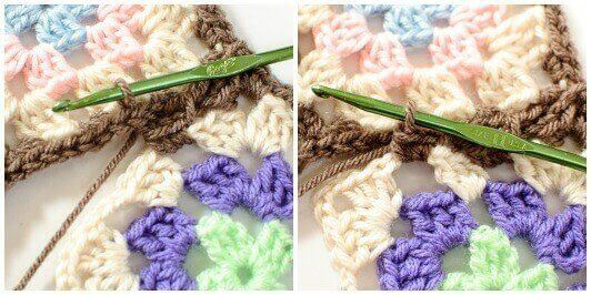 Joining Granny Squares With the Join As You Go (JAYGO) Method Step 3