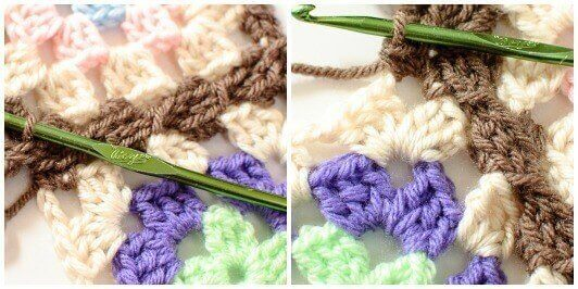 Joining Granny Squares With the Join As You Go (JAYGO) Method Step 5