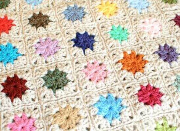 Joining Crochet Squares ... Cluster Burst Afghan