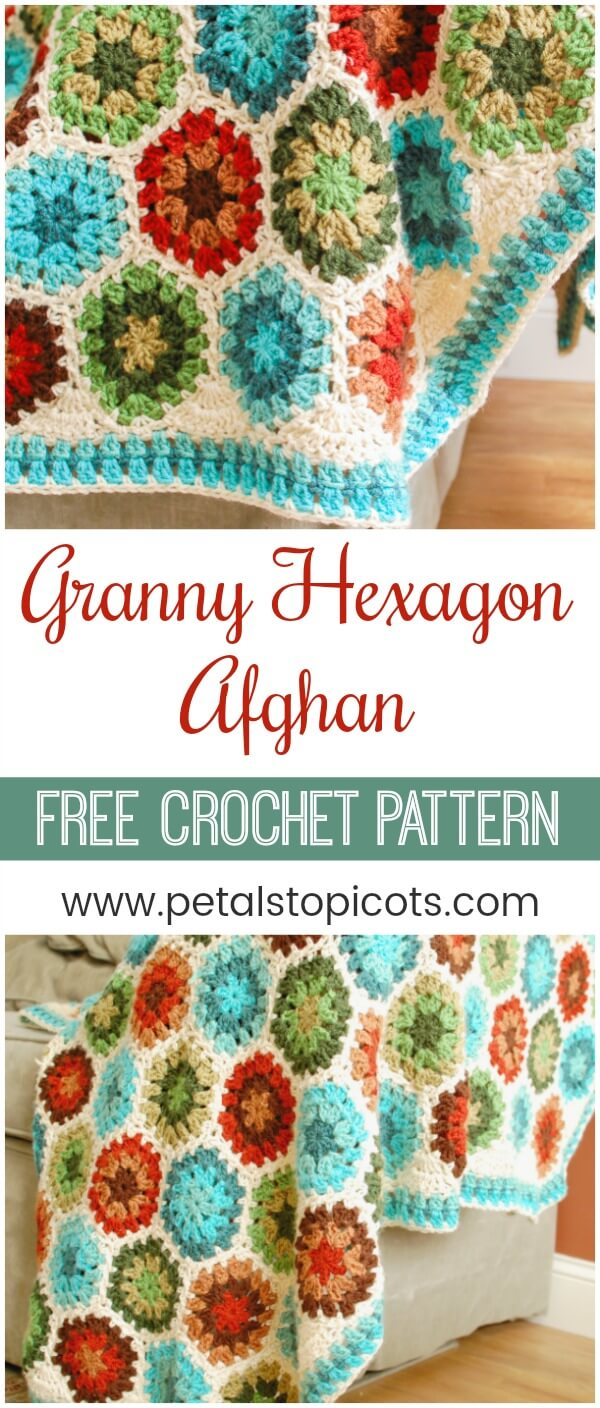 Stitch up a colorful Granny Hexagon Afghan with this free crochet pattern. #petalstopicots