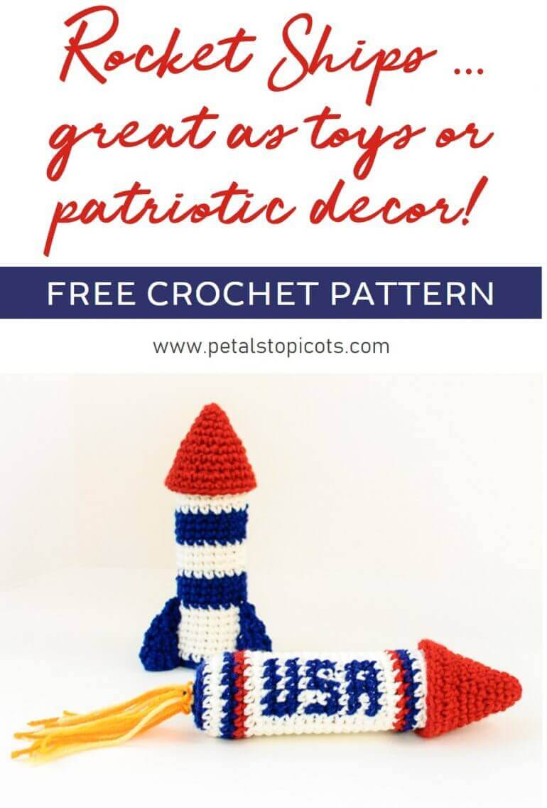 Crochet rocket ship patterns …  great for kids' indoor playtime or to add to your patriotic decor!#petalstopicots