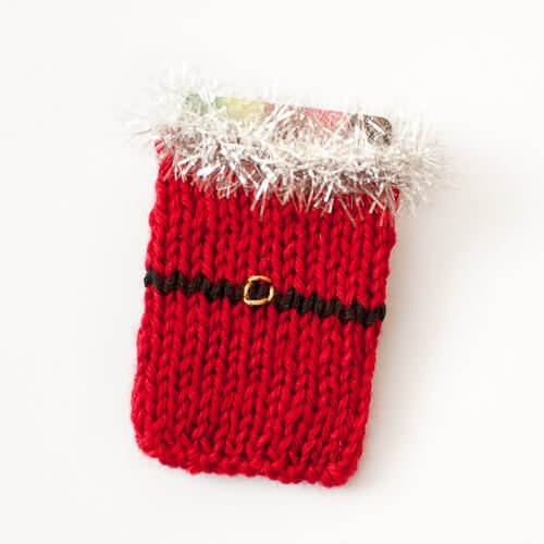 Santa Knit Gift Card Holder Pattern Petals To Picots
