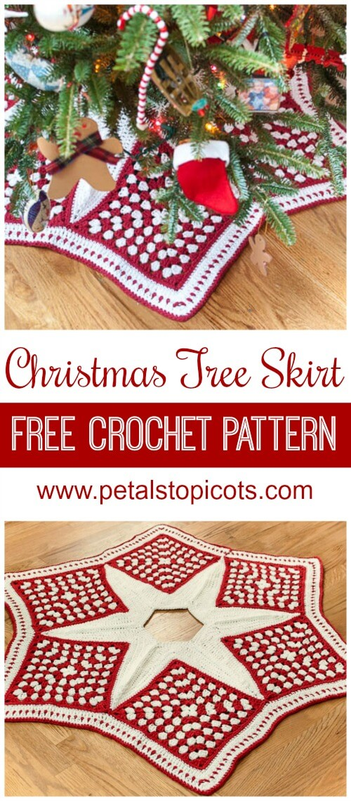 Add some handmade charm to your Christmas decor with this beautiful skirt for your Christmas tree ... Free crochet pattern! #petalstopicots