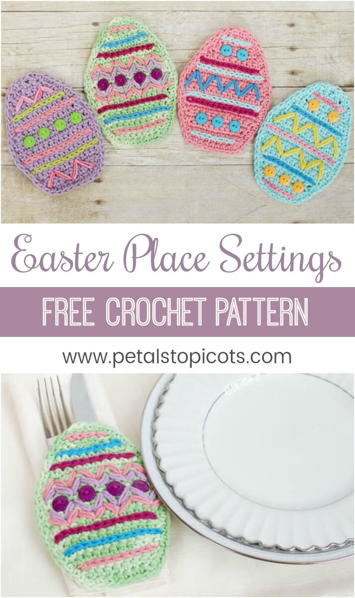 I am so excited to set my table this Easter! I worked up a bunch of these Easter place settings in different colors ... they are so much fun to decorate too! #petalstopicots