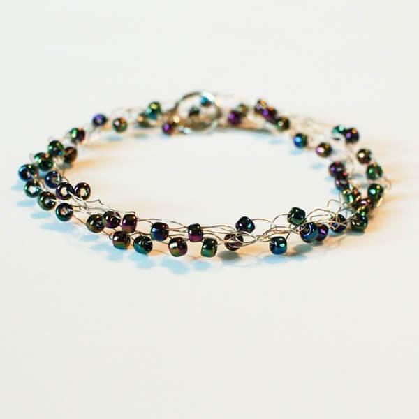 Boho-Chic Wire Wrapped Beaded Crochet Bracelet | www.petalstopicots.com | #crochet #jewelry #bracelet #wire