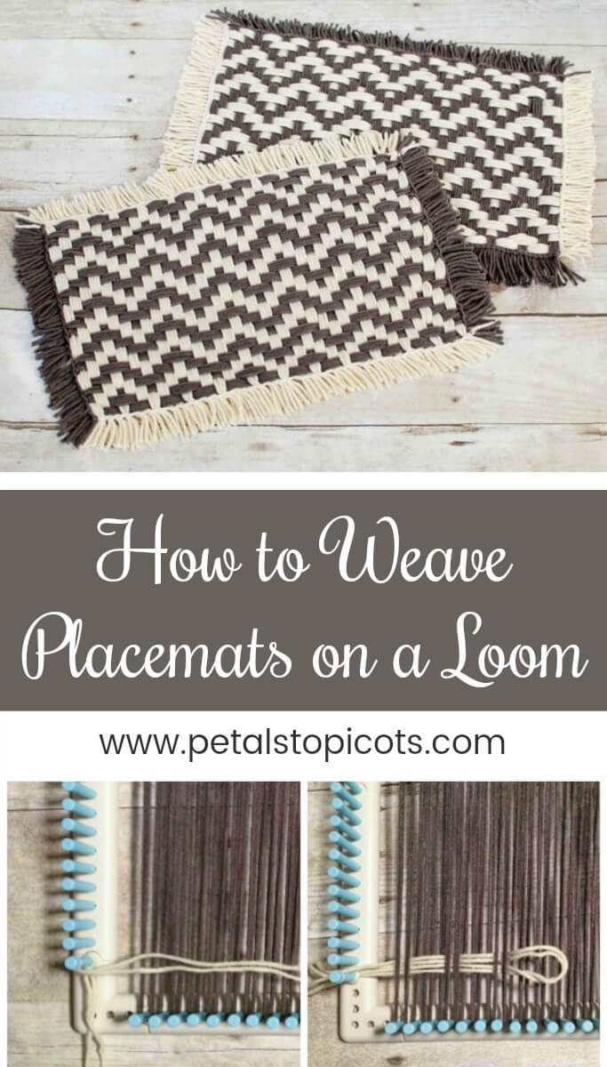 I am so excited to share with you this tutorial on how to weave placemats on a loom! I haven't used a loom to weave since I was a kid making potholders (remember those?!) and forgot how much fun it is. I thought some placemats would be a nice idea so played around and LOVE how they came out! #petalstopicots