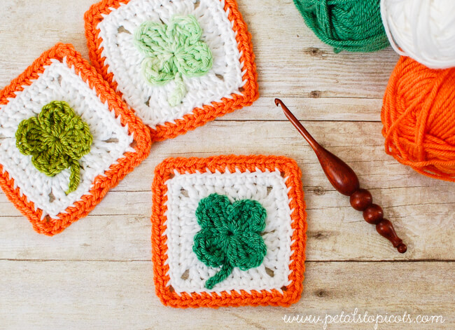 Crochet Clover Afghan Square Pattern Petals To Picots
