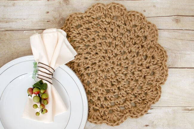 Jute Crochet Placemats Free Pattern Petals To Picots