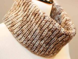 """Easily achieve a knit look with basic crochet stitches ... Free """"Knit"""" Crochet Cowl Pattern."""