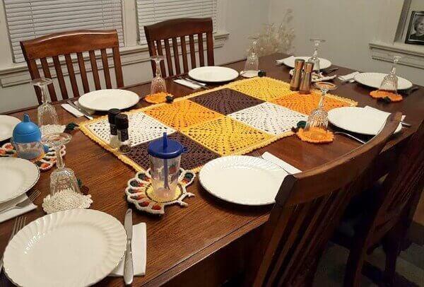 Crochet Granny Square Table Runner