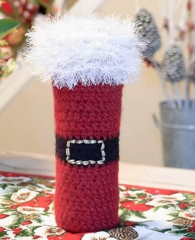Felted Santa Wine Bottle Tote Crochet Pattern