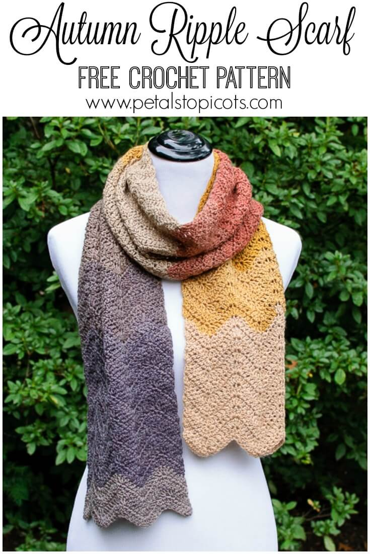 Autumn Ripple Crochet Scarf Pattern | Petals to Picots