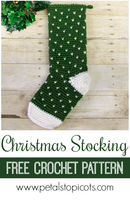 Evergreen Christmas Stocking Crochet Pattern Petals To Picots