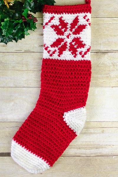 Fair Isle Snowflake Christmas Stocking Crochet Pattern