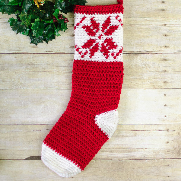 Fair Isle Snowflake Christmas Stocking Crochet Pattern | www.petalstopicots.com