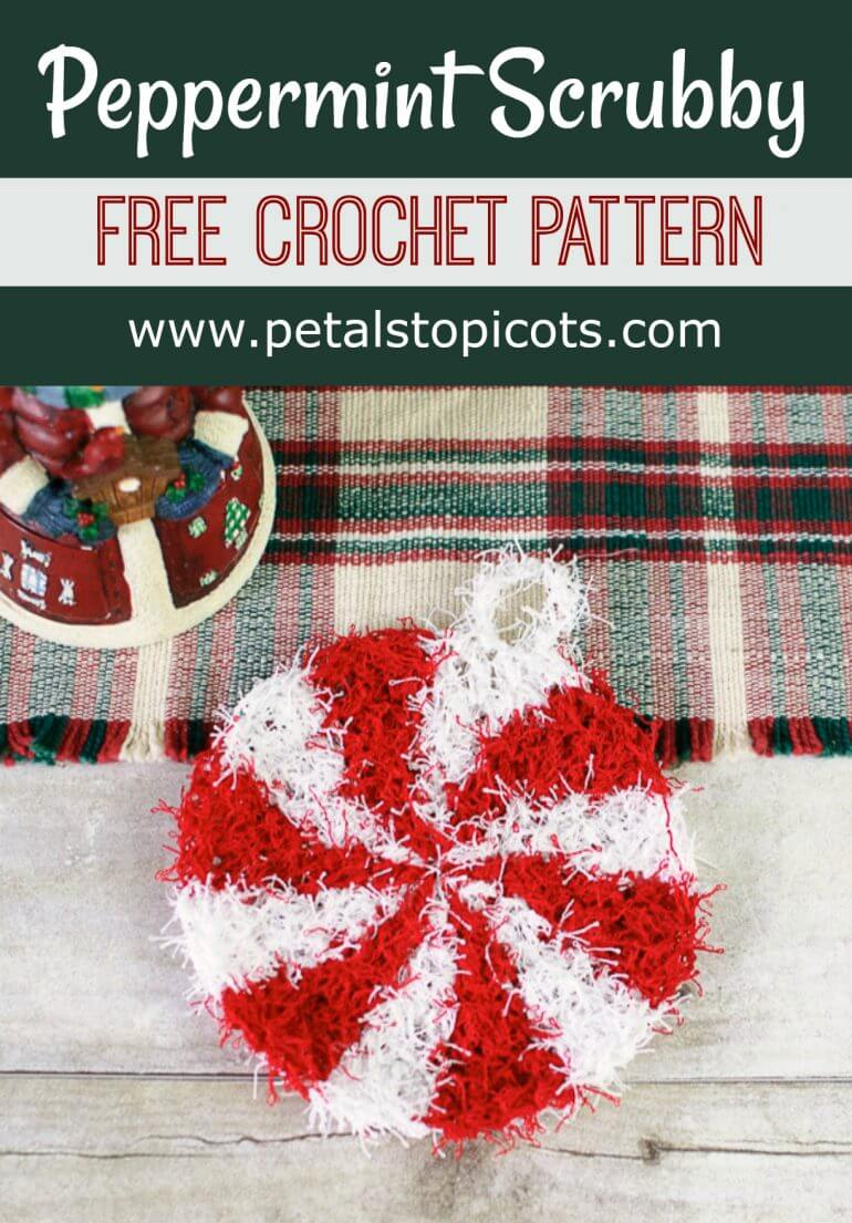 This Peppermint crochet scrubby pattern is so much fun to work up and will definitely add a little festive cheer to your holiday cleanup! Pair it with a pretty tea towel and some specialty dish soap and you'll have a heartfelt (and helpful!) gift for your hosts. #petalstopicots