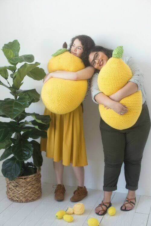 It's stress awareness month and once again the Craft Yarn Council is raising awareness with their annual #StitchAwayStress campaign to encourage knitters and crocheters to pick up their hooks and needles and stitch away their stress. And to give us some incentive, designer Twinkie Chan has created these fun and free lemon pillow patterns to knit or crochet.
