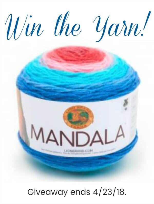 Enter to win 3cakes of Mandala Yarn! Giveaway is open now through midnight, 4/23/18. Open to U.S. and Canadian residents only.Good luck! #petalstopicots