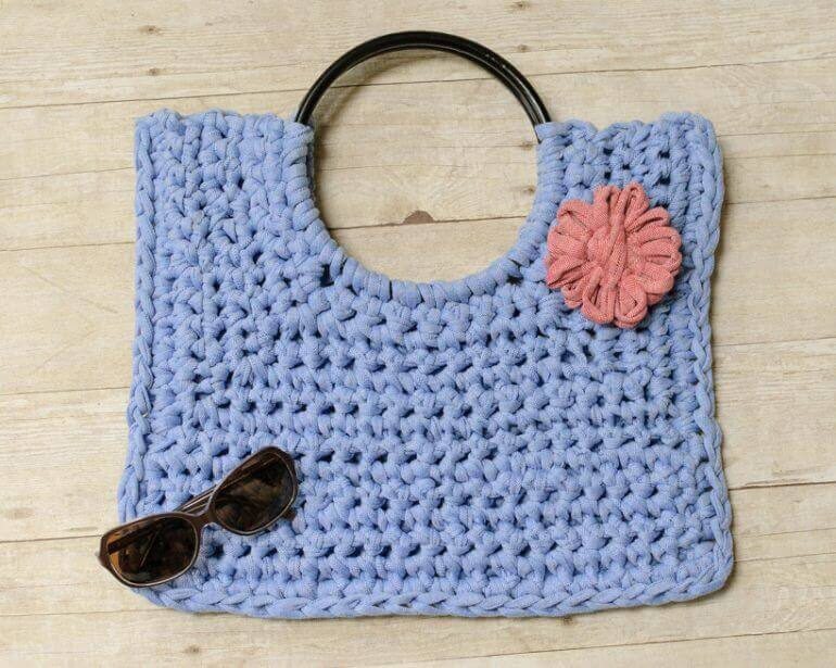 Hamptons Tote T Shirt Yarn Crochet Bag Pattern Petals To Picots