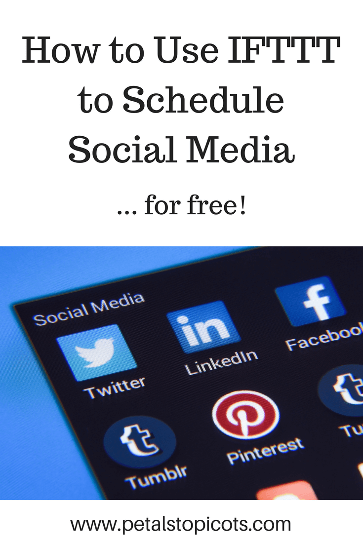 Up your social media game! See how you can schedule to all your social media outlets from your Google Calendar through a free IFTTT account.  Schedule posts from one place and at a recurring schedule you choose, without any fees! This step-by-step tutorial will help you get it setup up so you can set up a schedule and let it do the work for you. #petalstopicots