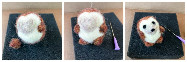 Step 4 - Needlefelting the legs and face | www.petalstopicots.com