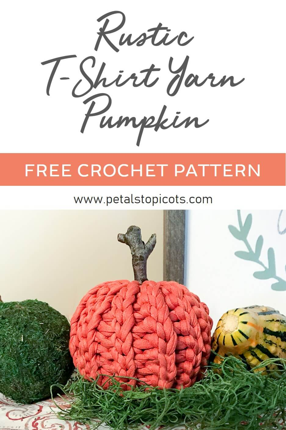 This rustic crochet pumpkin is made with T-shirt yarn and is super quick to work up! The pattern is great for all crochet experience levels as well since it's worked flat, with no increasing or decreasing, and then seamed up and stuffed. The slip stitch pattern also adds a great knit-like accent. This little darling is sure to charm my decor all through the Autumn season! #petalstopicots