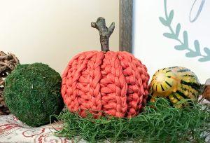 Rustic Crochet Pumpkin Made With T-Shirt Yarn