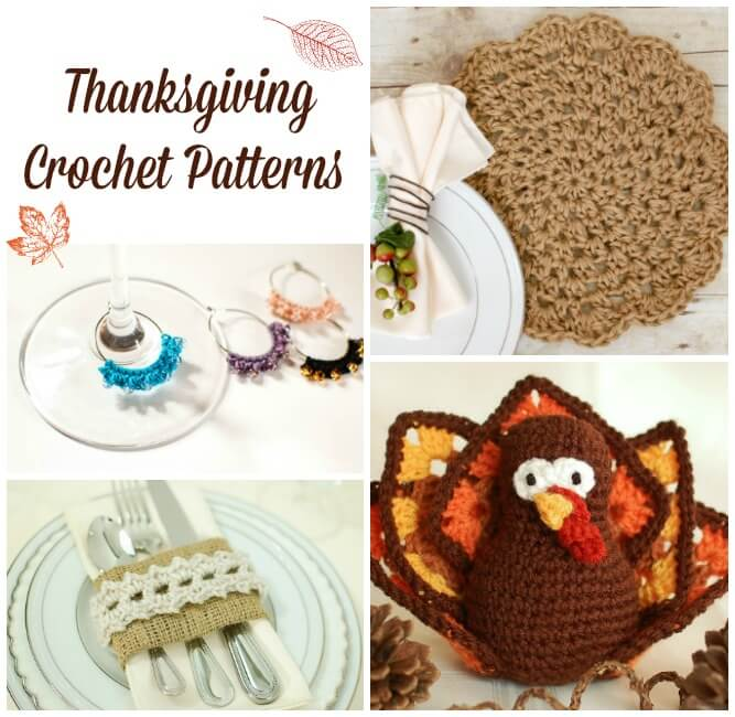 Whether you're hosting or visiting this Thanksgiving, you're sure to love these fun Thanksgiving crochet patterns to make for your home, your table, or your hosts! #petalstopicots