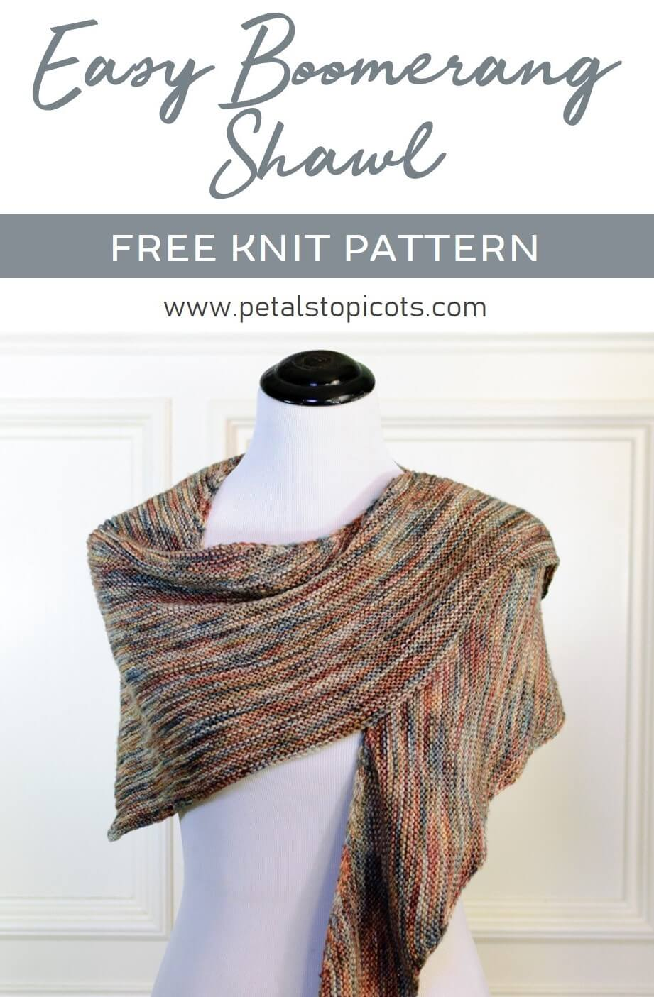 This boomerang shawl is a simple yet enjoyable knit and is perfect for showing off that extra special yarn you've been saving in your stash! #petalstopicots