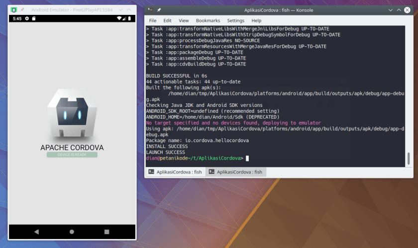 Aplikasi Cordova di Emulator Android