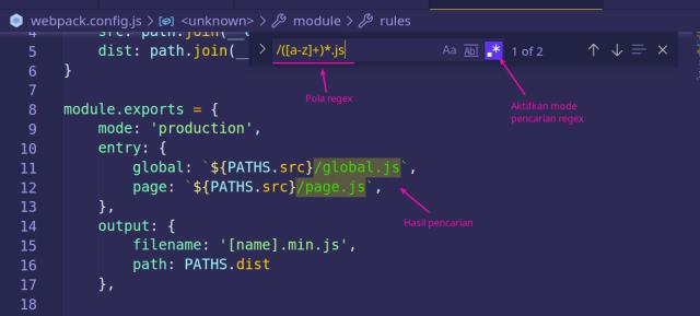 regex pada vscode